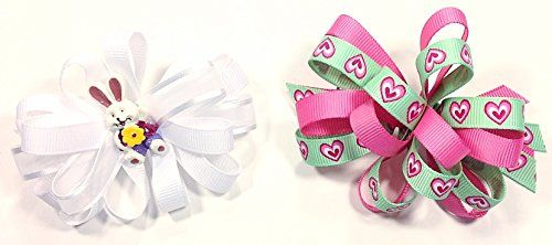 Easter & Valentines Day Unique Novelty Set of Two French Hair Clip Bows for Girls (W) A coordinated accessory finishes the outfit!  Read more http://cosmeticcastle.net/hair-care/easter-valentines-day-unique-novelty-set-of-two-french-hair-clip-bows-for-girls-w  Visit http://cosmeticcastle.net to read cosmetic reviews
