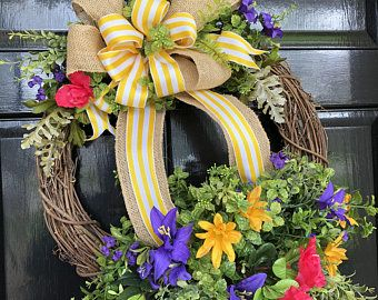 Photo of Sunflower wreath; Spring wreath; Summer wreath; Clothes pegs; Summer; Handmade; Spring; Summer; Sunflower; Floral wreath; spring