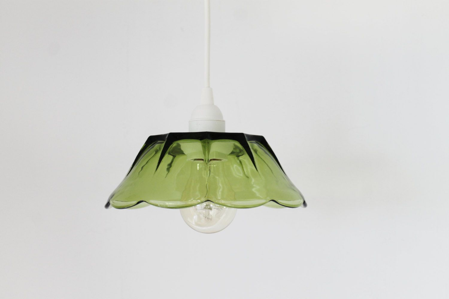 Leaf Upcycled Hanging Pendant Lighting Fixture Featuring A Vintage Green Gl Chip And Dip Bowl