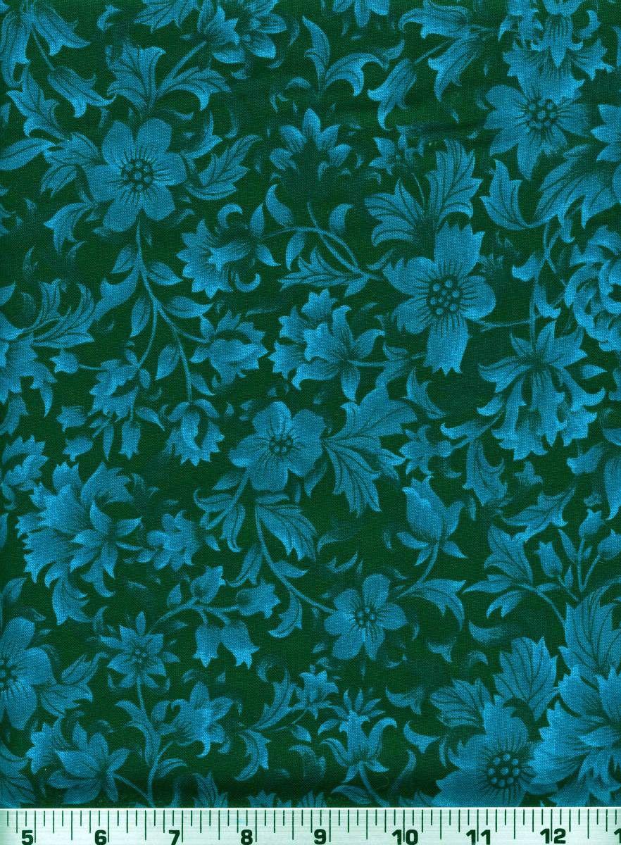 Fabric 2164 Blue Floral Foliage on Black Jinny Beyer RJR Sold by 1 2 Yard | eBay
