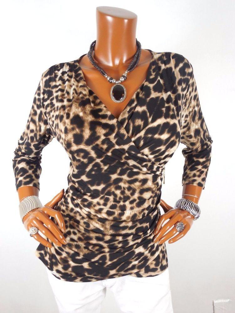 889c80e6aaa9 ELLEN TRACY Womens Top M SEXY Low Cut Animal Blouse Casual Shirt Zipper  Trim #EllenTracy #Blouse #Casual