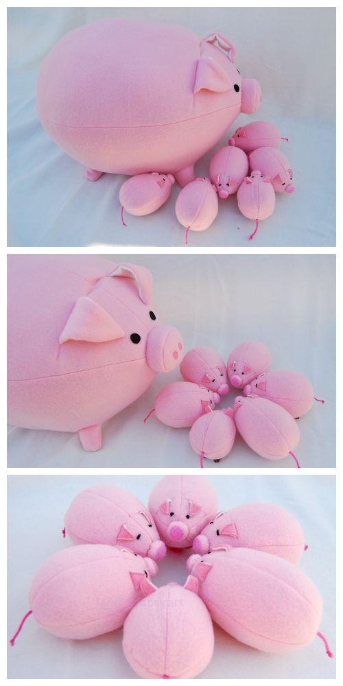 DIY Plush Pig Free Sew Pattern & Tutorial #sewtoys