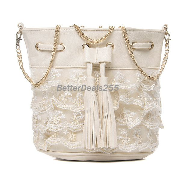 Barrel-shaped Tote Bag Shoulder Bag Sling Bag Layer-by-Layer Embroidering Lace | eBay