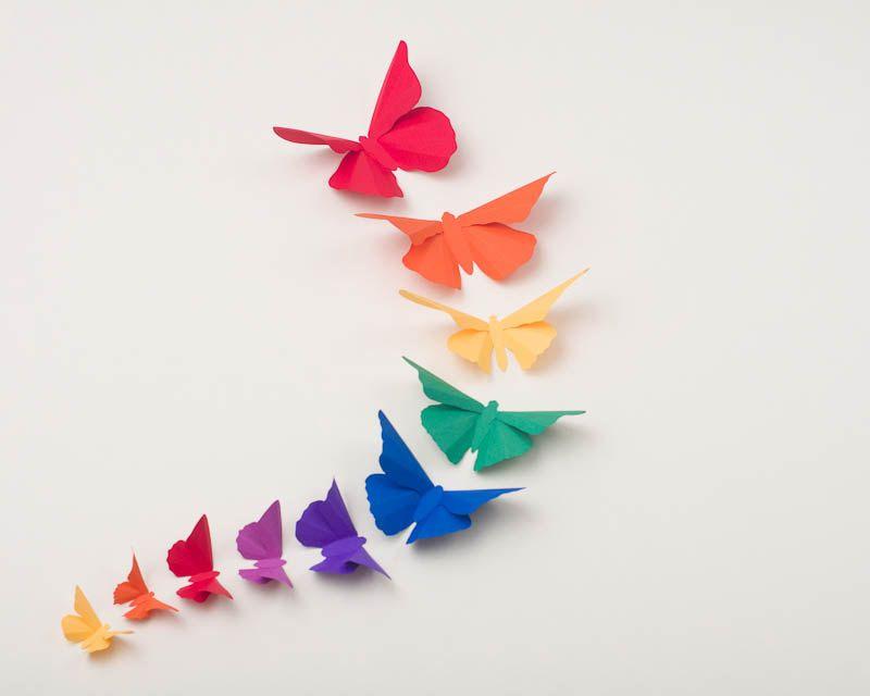 Rainbow Butterfly Wall Art, 3D Wall Butterflies, Kids Wall ...