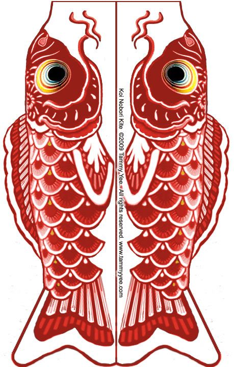 Koi fish kite template used for kids craft project. For smaller kids ...