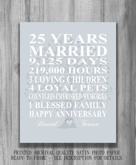 SILVER 25th Anniversary Gift Personalized by PrintsbyChristine $15.00 & 25th Wedding Anniversary Gift Silver Anniversary Print Personalized ...