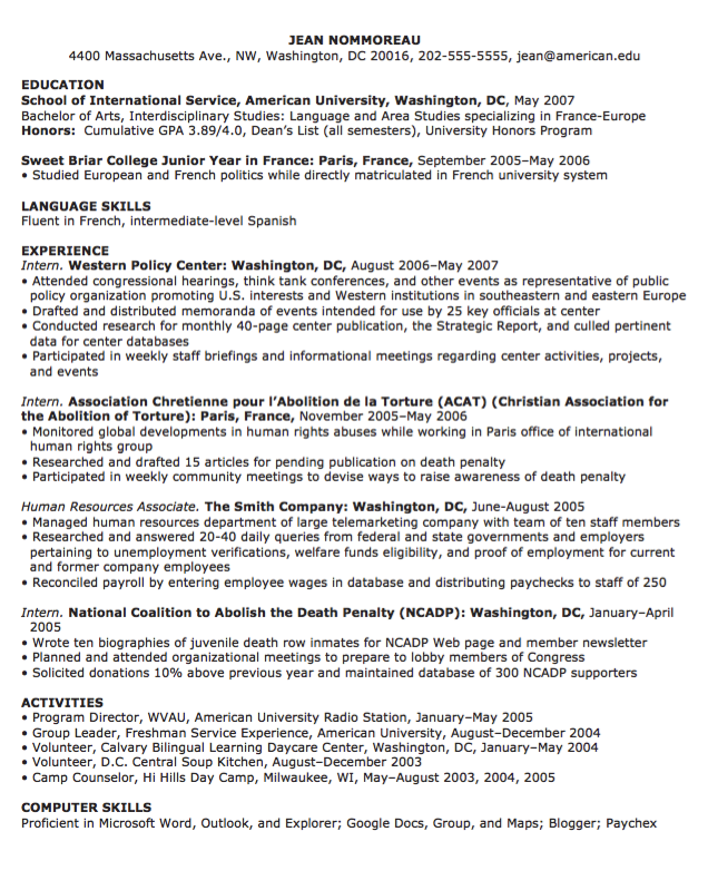 Computer Skills Resume Examples Interesting Sample Cv Of Human Resources  Httpresumesdesignsamplecvof .