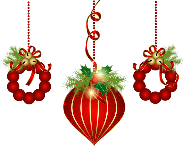 Transparent Red Christmas Ornaments PNG Clipart