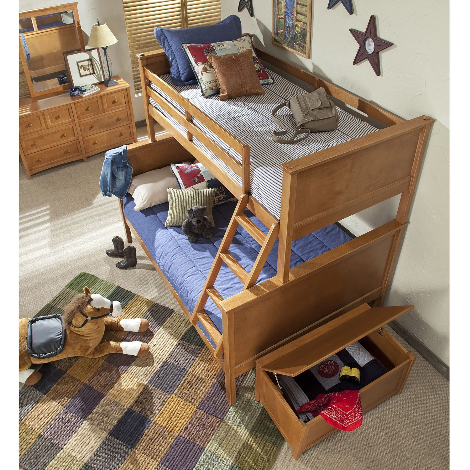 Toddler loft bed ideas  NE Kids School House uCaseyu Pecan Twin and Full Bunk Bed TF Casey