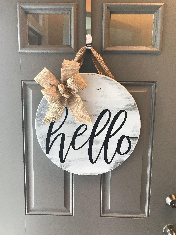 Door Hanger Front Door Decor Hello Door Sign Wreaths For Etsy Round Wood Sign Door Decorations Crafts