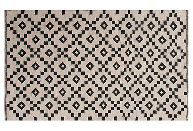 Blakely Flat-Weave Rug, Ivory/Black on OneKingsLane.com