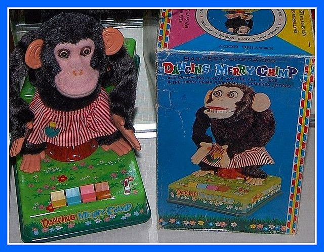 "Vintage ""Dancing Chimp"" toy, discovered at serioustoyz.com 