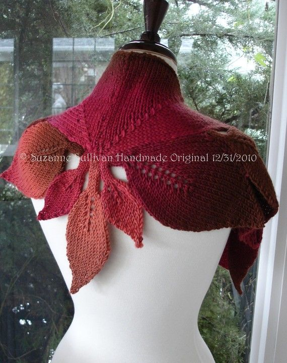 Diamond Leaf Capelet, Knitted Cape with leaves, Diamond Leaf Cape ...