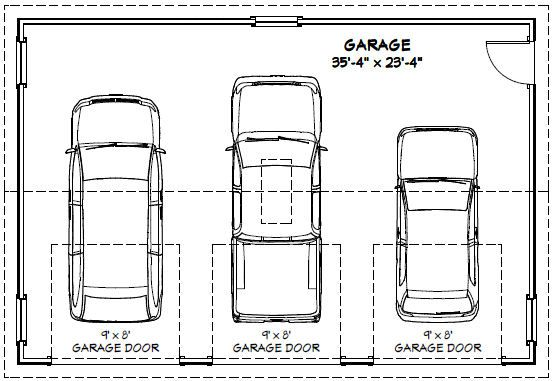 Garage dimensions google search andrew garage for How wide is a 3 car garage