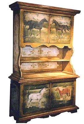 Custom Horse Painted Buffet Horse Decor Equestrian Decor Painted Furniture
