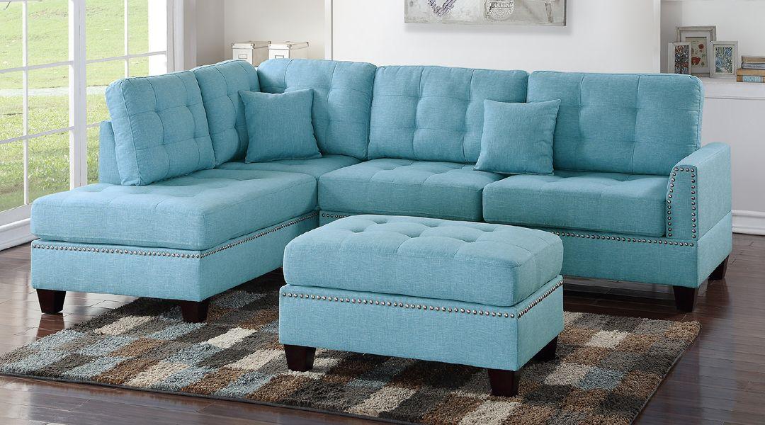 Best 3 Pcs Tufted Back Seat Blue Polyfiber Sectional Sofa Set 640 x 480