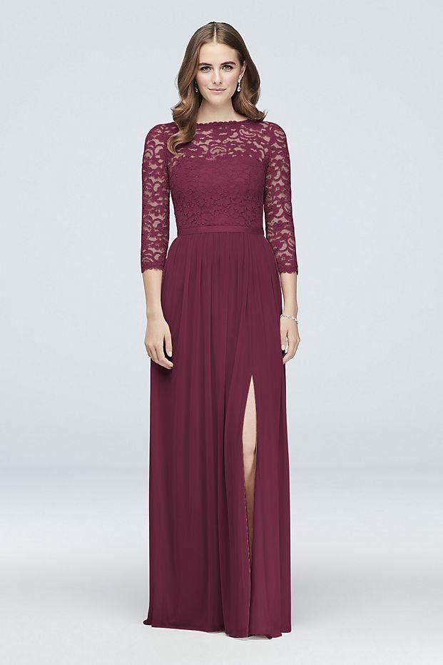 b116f664d637 3/4-Sleeve Illusion Lace and Mesh Bridesmaid Dress | David's Bridal |  Bridesmaid dress with sleeves, lace bridesmaid dress, burgundy wedding, ...