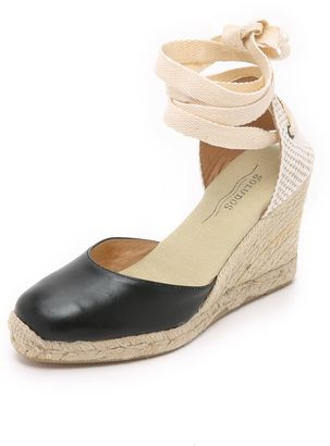 Soludos Leather Tall Wedge Espadrilles Shoes