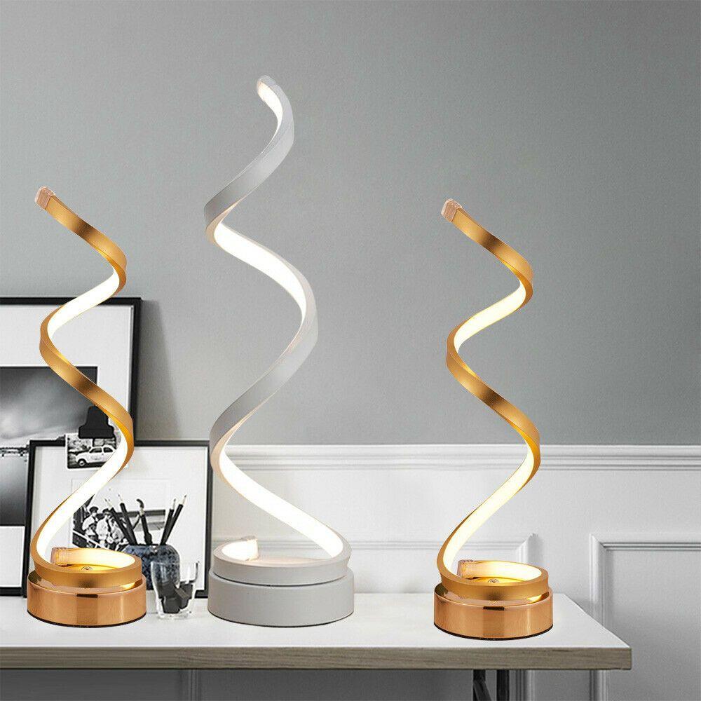 Details About Modern Led Table Desk Lamp Warm White Decorative Bedroom Spiral Light 24w 110v Gold Desk Lamps Modern Desk Lamp White Desk Lamps
