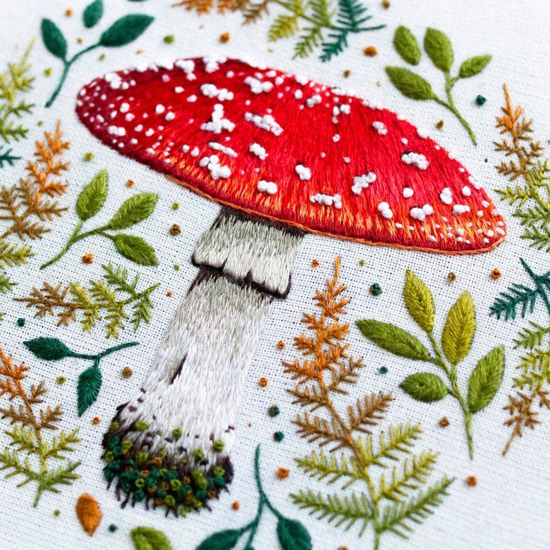 Mushroom Hand Embroidery Pattern Needlepainting Tutorial