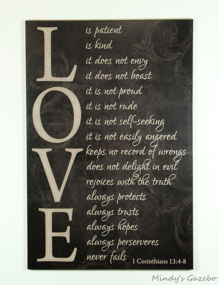 LOVE Is Patient, LOVE Is Kind Primitive Black Sign Home Wall Decor Marriage  In Home