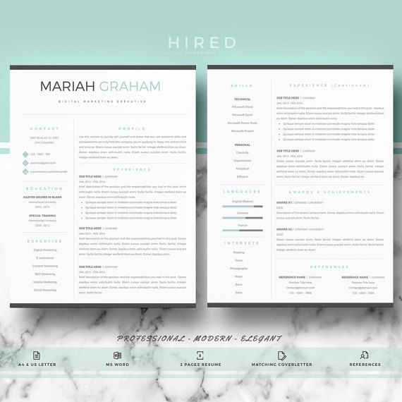 Professional U0026 Modern Resume Template For Word: Mariah   100% Editable.    Instant