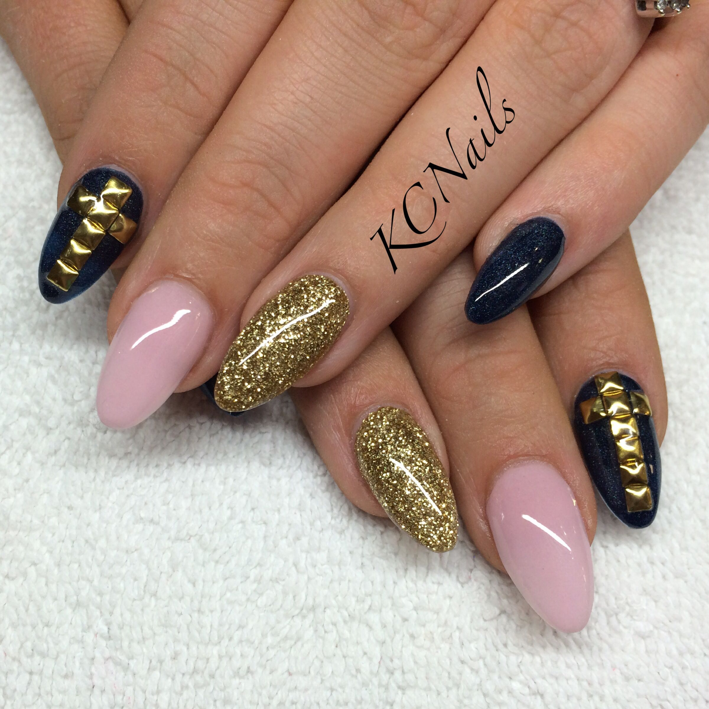 Navy blue, pink and gold acrylic nails. Almost shaped solid nails ...