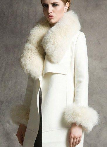 White Winter Coats Wild White Wolf Fox Fur Cashmere Coat Lapel