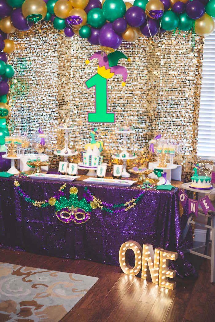 Mardi Gras Dessert Table From A Mardi Gras Themed Birthday Party On Karas Party Ideas Karaspartyideas Com