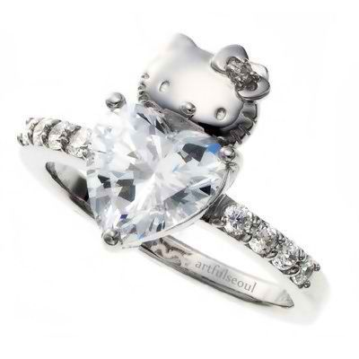 Hello Kitty heart diamond wedding engagement ring Hello Kitty