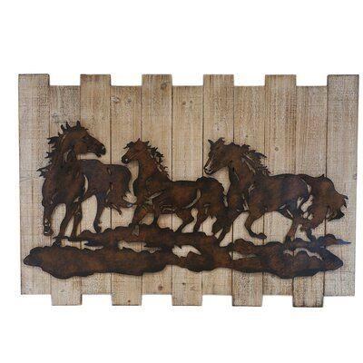 Charlton Home Embossed Group Of Horse Metal And Wood Wall Decor Wayfair Metal Tree Wall Art Metal Tree Tree Wall Art Diy