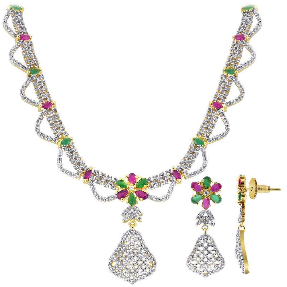 Gold Plated Simulated Ruby Emerald and CZ Necklace Earrings Set