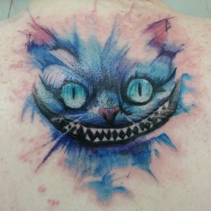 Fun watercolor cheshire cat tattoo artist nic mann shop for Tattoo parlors grand rapids