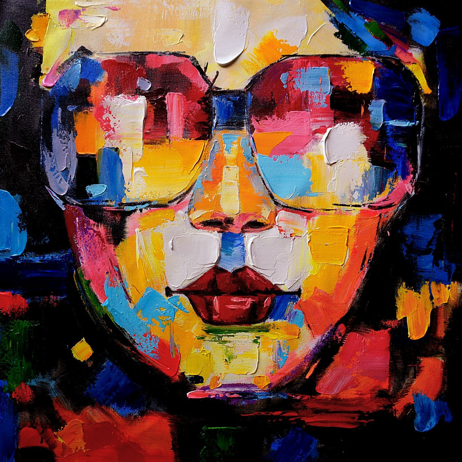 Wall art women face abstract painting handmade oil for Oil paintings for the home