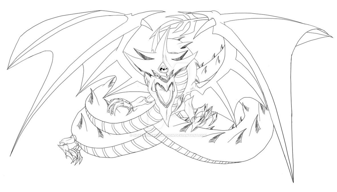 Slifer The Sky Dragon Lineart By Slifertheskydragon Dragon Coloring Page Dragon Sketch Princess Coloring Pages
