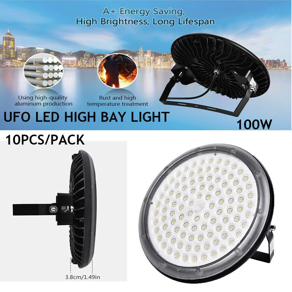 10X 100W Ultra-Thin UFO LED High Bay Light Commercial Industrial Factory Lamp