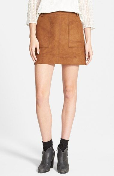 Free shipping and returns on Hinge Faux Suede A-Line Miniskirt at ...