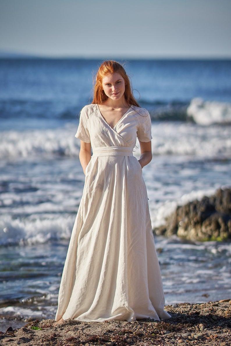 Linen Maxi Dress Linen Dress Linen Wedding Dress Victorian Etsy Linen Wedding Dress Summer Linen Dresses Victorian Wedding Dress [ 1191 x 794 Pixel ]