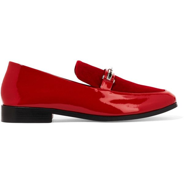 dccf1fe00cd NewbarK Melanie velvet-paneled patent-leather loafers (153.530 HUF) via  Polyvore featuring shoes