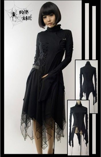 T187 Punk Visual kera dolly Gothic Long T shirt
