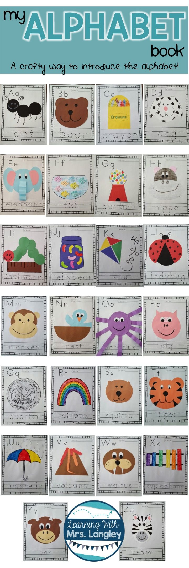 This alphabet book is a great way to introduce the alphabet during the first weeks of school. Introduce a letter a day and