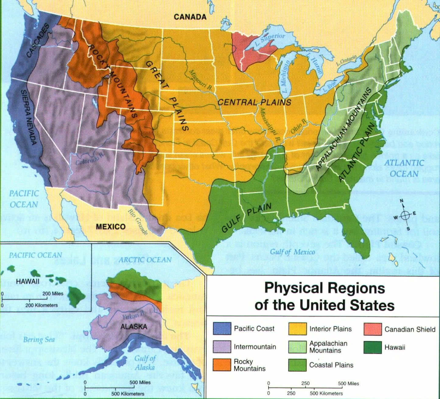 Us Physical Region Map Central Plains: thunderstorms tend to form more frequently at