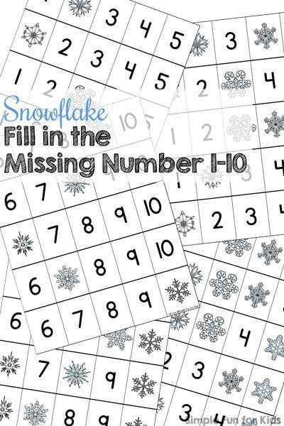 Snowflake Fill In The Missing Number 1 10 Printable Writing