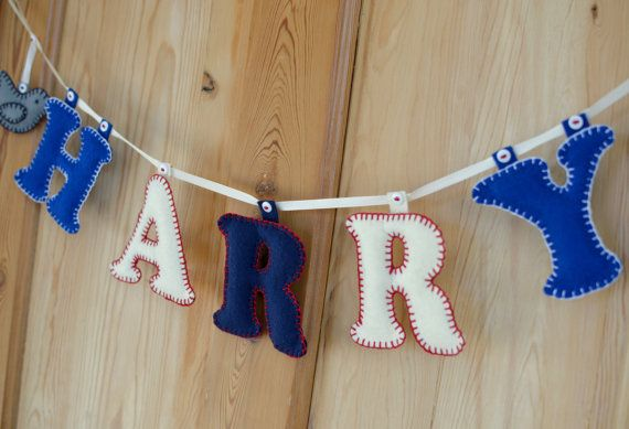 Personalised baby/kids name garlands by BennyandBlue on Etsy, £20.00