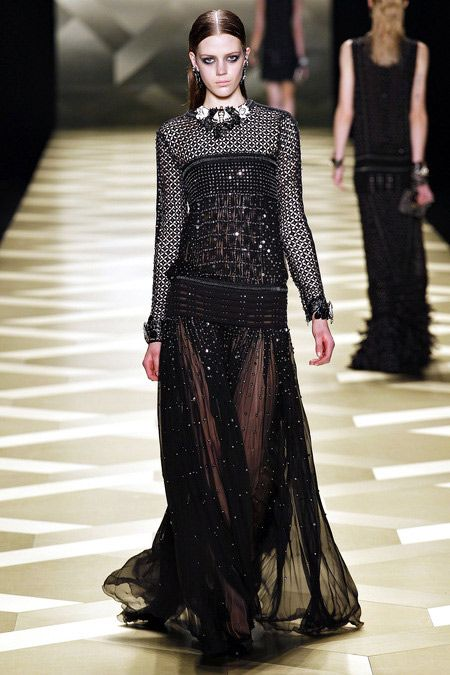 Cut OutFabric in Fishnet#style  Bejeweled Glamourous Net #fashion #trend for Fall Winter 2013   Roberto Cavalli F/W 2013