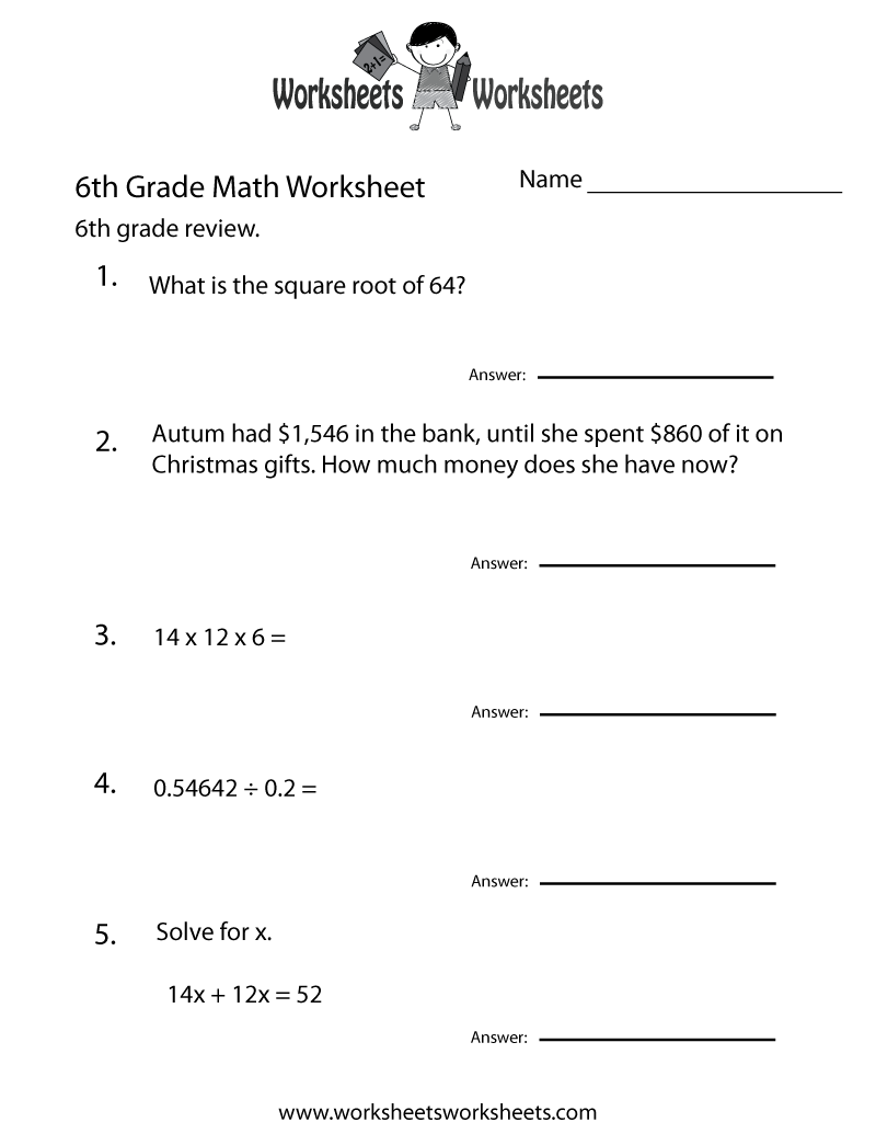 worksheet Math Worksheets Grade 8 Algebra 6 grade math worksheets sixth practice worksheet free printable educational
