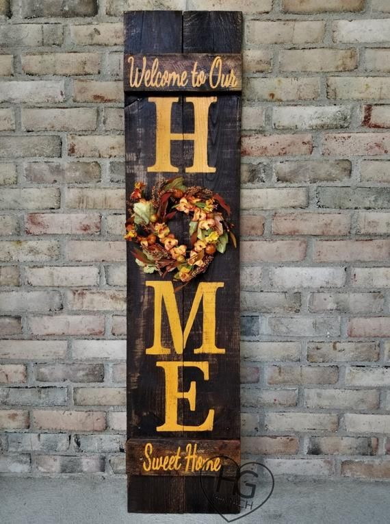 Fall Porch Sign Thanksgiving HOME Welcome Sign 5'