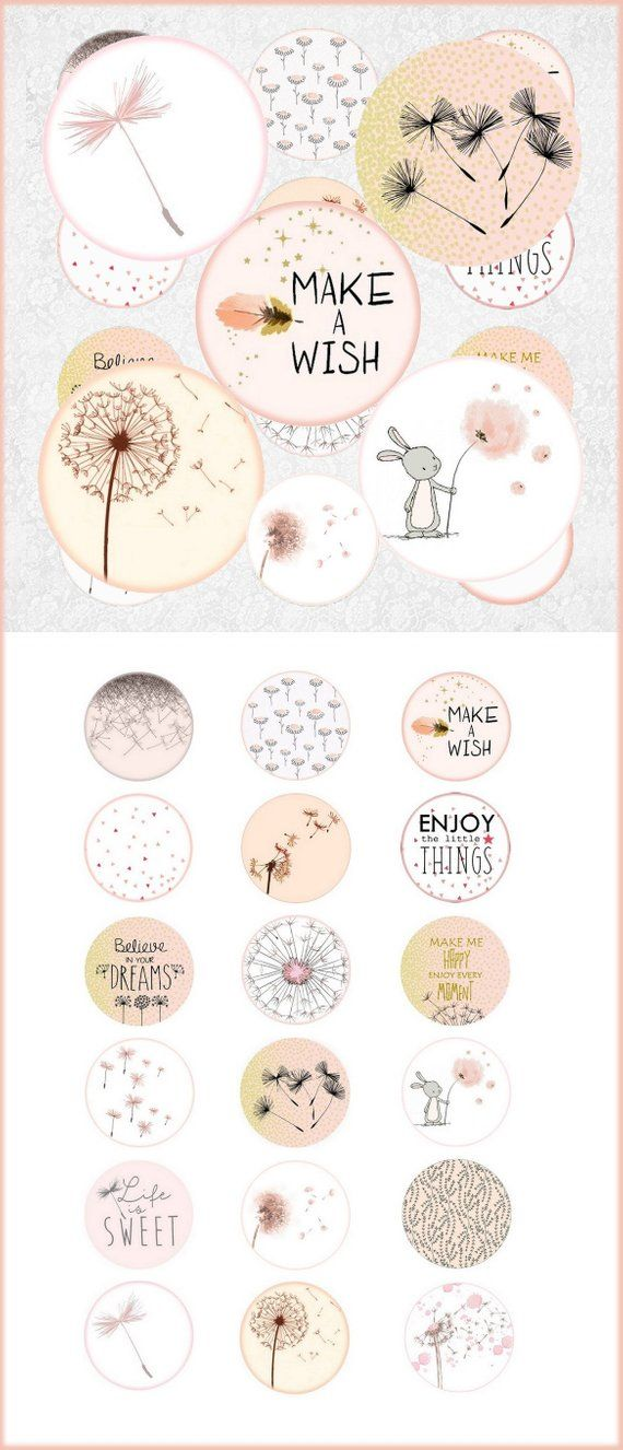Digital collage sheet circles dandelion pink white- 1 inch circle images digital bottle cap dandelion digital rounds 30 25 20 18 16 14 12 mm