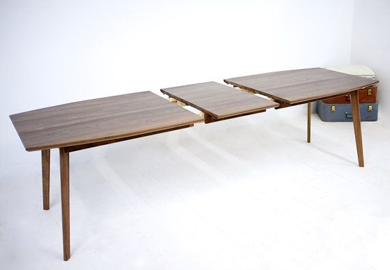 Extendable Modern Walnut Dining Table Mid Century Modern Etsy In