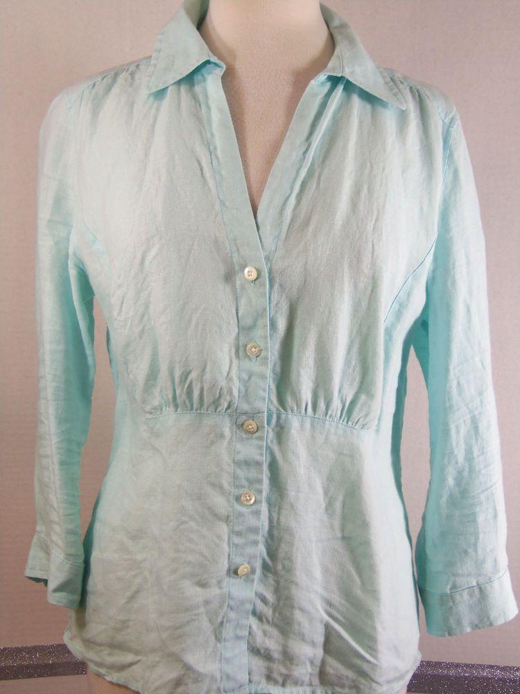 cd13ca2ea9a Talbots Pure Irish Linen Blouse Size 10 light aqua 3 4 sleeve open v-neck   Talbots  Blouse  Casual